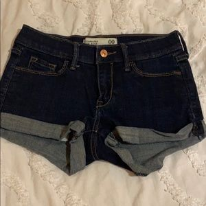abercrombie low rise dark wash jean shorts